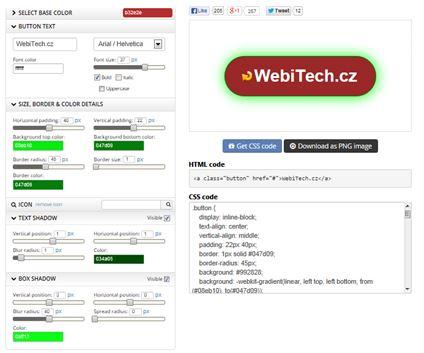 Tlačítka na web zdarma CSS a PNG