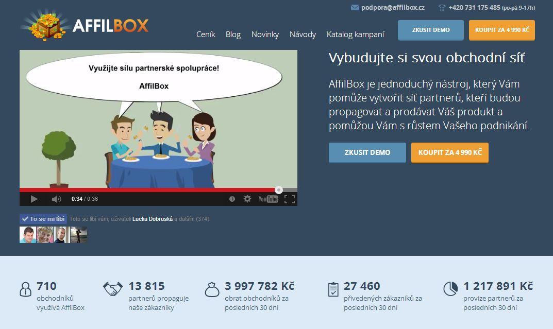 affilbox vlastní partnerský program