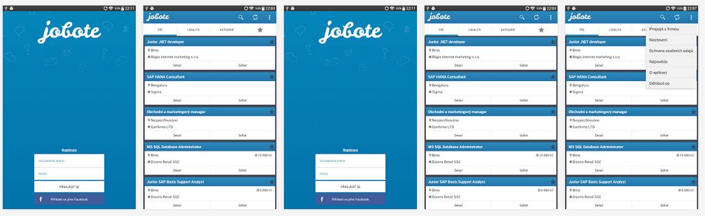 náhled mobilní aplikace Jobote